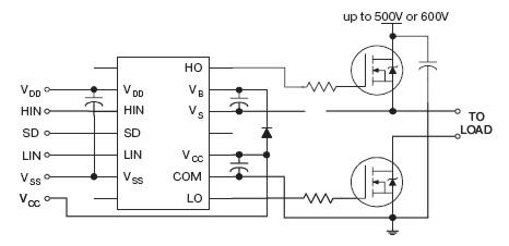 схема подключения драйвера верхнего и нижнего ключа