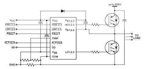 схема подключения независимого трёхфазного драйвера МОП транзисторов