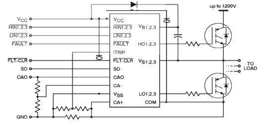 схема подключения 3-хфазного драйвера с инверсией