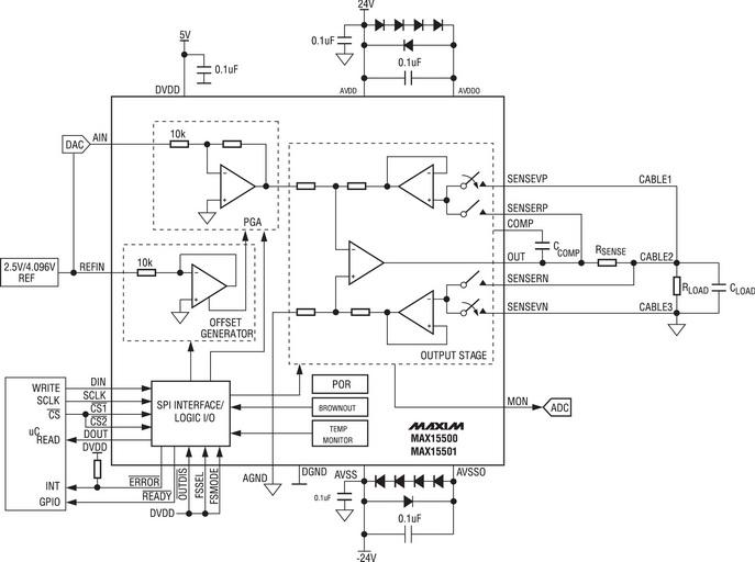 Схема применения MAX15500/