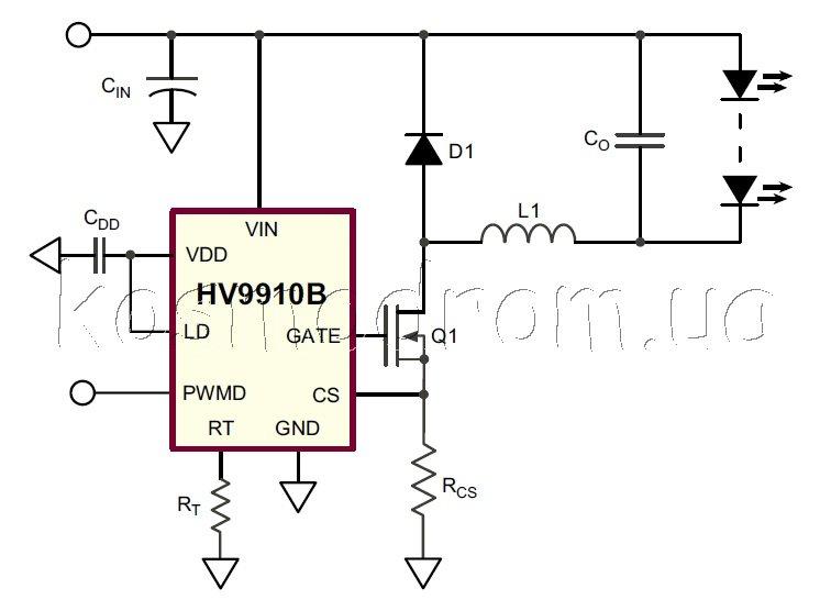 HV9910BDB1 – Схема автономного