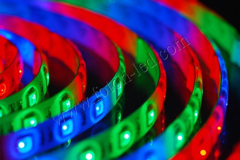 Светодиодная лента, светодиоды SMD 5050, Rishang, 60шт./м, водонепроницаемая IP-68, RGB.